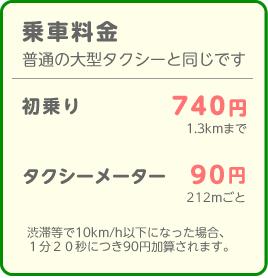 乗車料金は普通の大型タクシーと同じです。初乗り740円、212mごとに90円、渋滞等で時速10km/h以下になった場合、1分20秒あたり90円を加算